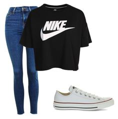"""""""Nike chick"""" by samidennis on Polyvore featuring Topshop, NIKE and Converse"""