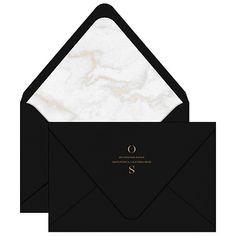 Jardin Invitation Envelope / Wedding / Gold Marble Liner / Black & White / Brass Foil Stamp / Editorial / Modern / Custom / #myownblissandbone