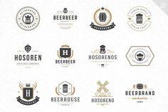 45 Beer Logotypes and Badges by Vasya Kobelev on Vector Design, Logo Design, Set Design, Typography Poster Design, Beer Brewery, Badge Logo, Vector Shapes, Business Signs, Beer Label