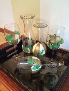 Holiday wine glasses hand painted cream gold by paintingbymichele, $16.00