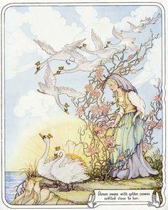 The Wild Swans -- Vintage Print -- Fairytale Illustration