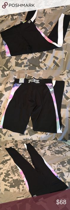 ULTIMATE LEGGING YOGAS Brand new fun design with black polyester PINK Victoria's Secret Pants Leggings