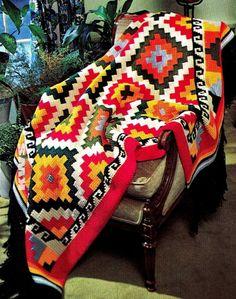 "Crochet Pattern - Vintage 70s ""INDIAN"" Afghan - PDF Pattern"