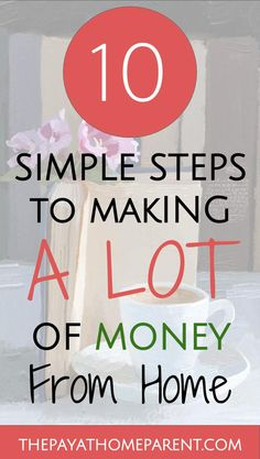 How to make a lot of money. If you can just learn how to make a lot of money from home, then you could ditch your office job. I did just that 3 years ago and I could not be happier! Learn how to make money from home with these 10 simple steps that helped me. Maybe you don't need to make a lot of money but rather enough money to supplement a second income in your home. If you work hard, you too can be making money from home!