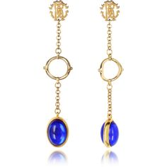 Roberto Cavalli Earrings RC Line Gold Tone Earrings w/Deep Blue Stone ($650) ❤ liked on Polyvore featuring jewelry, earrings, stone jewelry, stone earrings, post back earring, dark blue jewelry and gold tone jewelry