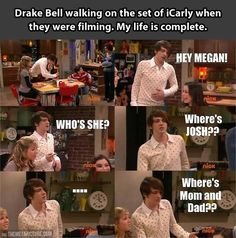 Drake Bell walking on the set of iCarly