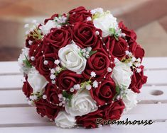 Sweet Wedding Bridal Bouquet Wine Red&Cream White Roses W/Pearl Babysbreath Flowers. Made of 30 pcs Ivory&Wine Red PE foam roses and decor with the cute white babysbreath & pearls above. This bridal bouquet is lovingly and carefully hand made. Church Wedding Flowers, Red Bouquet Wedding, Prom Flowers, Bride Bouquets, Bridal Flowers, Silk Flowers, Floral Wedding, Fall Wedding, Garden Wedding