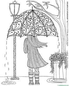 FREE Adult Coloring Pages - these free coloring sheets are perfect for grown-ups or older children who are looking for a challenge! Free printable coloring pages for adults are a great way to relax, unwind, and de-stress! Free Adult Coloring Pages, Coloring Pages For Girls, Free Printable Coloring Pages, Coloring Book Pages, Coloring For Adults, Spring Coloring Pages, Flower Coloring Pages, Printable Art, Umbrella Girl