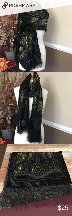 NWT Stunning shawl/scarf Brand new.. stunning shawl which can also be worn as a scarf. Black with golds & greens in what feels like velvet..  Dress up any outfit or use as a shawl while in your little black dress. Can't go wrong with this piece Accessories Scarves & Wraps