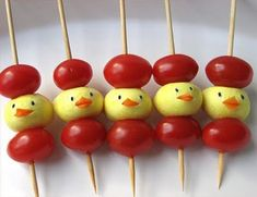 Tomato mozzarella sticks  for an Easter appetizer! (maybe the sticks through their little heads is a little weird)