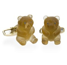 Deakin & Francis - 18K Yellow Gold Citrine Teddy Bear Cufflinks. Crystals In The Home, Piggy Bank, Dinnerware, Cufflinks, Fine Jewelry, Teddy Bear, Yellow, Gold, Men