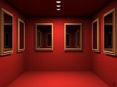 Red room with mirrors.