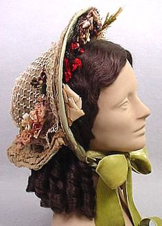 """High fashion """"spoon bonnet"""" - see how high it rises up?  Seen after 1860"""