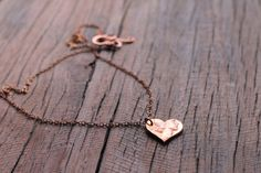rustic and romantic heart-shaped pendant, hand cut from a copper penny, by SweetNovemberJewelry Penny Necklace, Copper Necklace, Copper Jewelry, Arrow Necklace, Copper Penny, Black Gift Boxes, Heart Shapes, Handmade Jewelry, Pendants