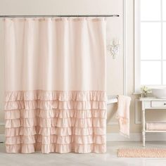 Lauren Conrad Ella Ruffle Fabric Shower Curtain Lauren Conrad Ella Ruffle Fabric Shower Curtain LC Lauren Conrad Bath Coordinates/ Linen Shower Curtain with 4 Rows of Ruffles - white linen Linen shower curtain with mermaid long ruffles make your