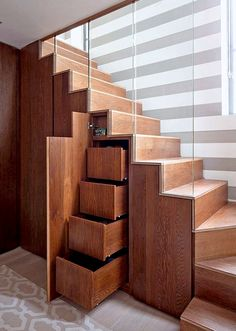 Furniture, Wood Stairs With Drawers Glass And Stripe Wall: Under Stairs Storage Design Ideas that Make Your House Keep Simple Staircase Storage, Staircase Design, Modern Staircase, Storage Under Staircase, Staircase Glass, Stair Design, Glass Railing, Curved Staircase, Under Staircase Ideas