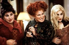 """The Sanderson Sisters in 'Hocus Pocus'  The Sanderson Sisters are welcome to put a spell on us any day of the week! We've been watching """"Hocus Pocus"""" on repeat every Halloween since 1993, when the film debuted. Kathy Najimy, Bette Midler and Sarah Jessica Parker starred as witches on an evil mission to restore their youthful beauty by stealing the life force of the children of Salem, Mass. Never have a coven of witches been so spooky and kooky!"""