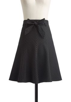 Profesh Pinstripes Skirt in Black: cute! Love this cut... It's usually what I look for when I actually buy a skirt!