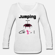 jumping trampolin girl jumpen jump Geschenk - Frauen Langarmshirt mit V-Ausschnitt Shirt Designs, Arm, Graphic Sweatshirt, Sweatshirts, Sweaters, Fashion, Posh Clothing, Gifts For Women, Saint Name Day