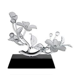 Frabel Studio Glass Dogwood, Two Blossoms, Frosted