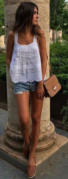 #summer #lovely #outfits |  White + Denim