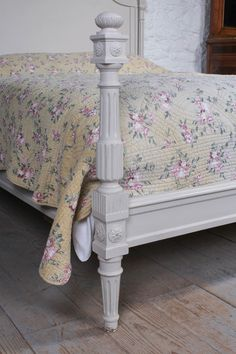 Lovely Carved Painted Low End French King Size Bed | 482791 | Sellingantiques.co.uk