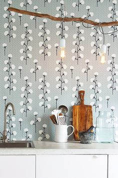 'Sweet Cotton' wallpaper by Majvillan is a unique wallpaper design featuring cotton clumps on cotton plants. Baby Wallpaper, Wall Wallpaper, Cotton Plant, Printed Shower Curtain, Bathroom Wallpaper, Pattern Wallpaper, Grey Wallpaper, Stunning Wallpapers, Plant Wallpaper