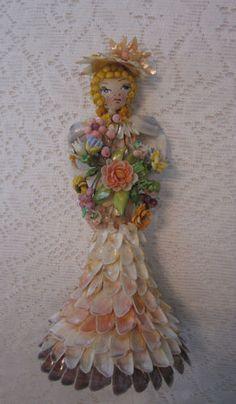 Antique Shell Work Folk Art Intricately Detailed Seashells Doll
