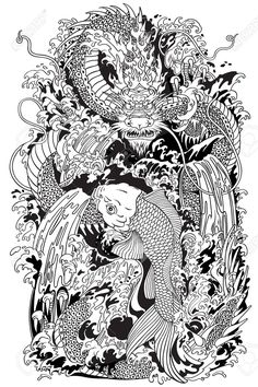 Illustration of Asian dragon and koi carp fish which is trying to reach the top of the waterfall. Black and white tattoo style vector illustration according to ancient Chinese and Japanese myth vector art, clipart and stock vectors. Dragon Koi Fish, Asian Dragon Tattoo, Koi Carp Fish, Small Dragon Tattoos, Japanese Dragon Tattoos, Water Dragon, Koi Tattoo Sleeve, Carp Tattoo, Koi Fish Tattoo