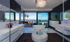 If It's Hip, It's Here: PART TWO: Modern Mansion With Wrap Around Pool and Glass-Walled Garage For $36 Million. (50 pics)