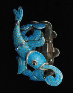 Margot de Taxco iconic blue enamel fish bracelet, Mexico