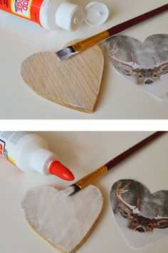 Photo on wood ornament - Way 1 (Easy Peasy), Up. Glue the back of the photo and stick the photo on the piece of wood. Diy Décoration, Easy Diy Crafts, Diy Craft Projects, Wood Ornaments, Diy Christmas Ornaments, Wood Crafts, Paper Crafts, Diy Wood, Photo Transfer To Wood