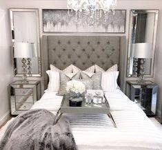 Grey Bedroom Decor, Glam Bedroom, Room Ideas Bedroom, Master Bedroom, Grey Room, Cute Room Decor, Luxurious Bedrooms, My New Room, Room Inspiration