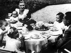 The 4 eldest Goebbels children enjoying an outdoor lunch with the parents, c. 1937.