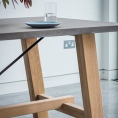 Verita Trestle Dining Table Oak & Concrete | Oak Dining Furniture