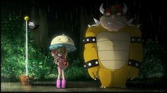 Peach and Toad with Bowser x my neighbor totoro