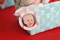 Season Opener: Baseball Party Ideas. Baseball gift tag from @Pear Tree Greetings to attach to the gift bags