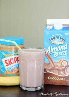 1 frozen banana; 1 cup chocolate almond milk; 2 tbs natural peanut butter. Blend.