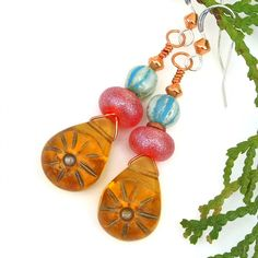 Golden #Sun #Earrings, Amber Red Turquoise #Boho #Handmade Summer #Jewelry by #ShadowDogDesigns - $25.00