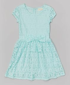Look at this Blue Bow Lace Dress - Girls on #zulily today!