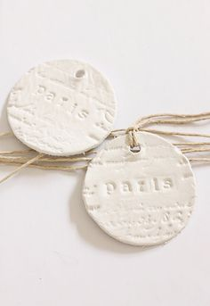 Clay Tags Paris French Script  White Clay by BeachHouseLiving, $10.00