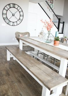The laid-back feel of this natural wood table and woven chair is effortlessly welcoming and stylish. Talk about the perfect spot to enjoy some downright good country cookin'