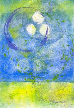 Floating  Monotype Painting  Sky Clouds & Air by RandolphArt