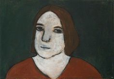 siobhan wall(1961- ), woman thinking, 1994. acrylic on canvas, 35 x 56 cm. new hall art collection, murray edwards college, university of cambridge  http://www.bbc.co.uk/arts/yourpaintings/paintings/woman-thinking-195431