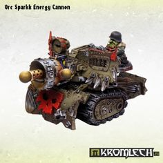 This set contains one Orc Sparkk Energy Cannon resin model.  Inside a pack you will find all parts needed to assemble a cannon with gunner and some parts which are optional [there are three different cannon tips]   This model is made to be compatible with 28mm heroic scale miniatures.