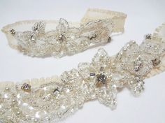 Glittering Pale Champagne Garter Set  Crystal beads by mirino, $35.00
