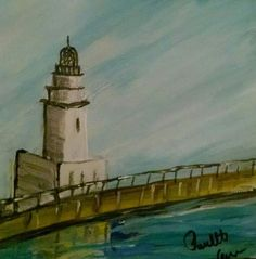 """Malaga Lighthouse, Spain I added """"30 Paintings in 30 Days, January 2015 - Paulette C"""" to an #inlinkz linkup!https://www.facebook.com/PauletteCarrArtist/photos/a.901546836531593.1073741835.425248420828106/901997593153184/?type=3&theater"""