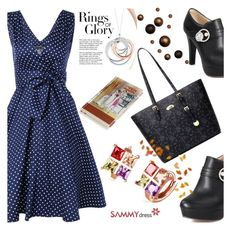 """Polka Dot Bowknot Embellished Dress"" by albinnaflower ❤ liked on Polyvore featuring Tiffany & Co."
