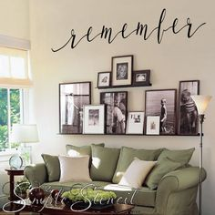 Nov 2019 - Remember wall decal to enhance a family picture wall or a memorial wall to a lost loved one. Remember wall decal to enhance a family picture wall or a memorial wall to a lost loved one. Family Room Walls, Family Room Design, Memory Wand, Room Wall Decor, Living Room Decor, Family Wall Decor, Living Rooms, Family Room Decorating, Decorating High Walls