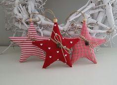 Baumschmuck: Stoff - Weihnachtsbaumschmuck Sterne Landhaus - ein Designerstück von Feinerlei bei DaWanda